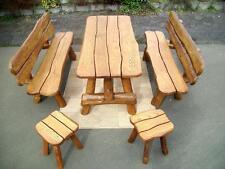 Gartenmöbel Rustikal massiv Holz Sitzgarnitur Gartengarnitur Gartensitzgruppe