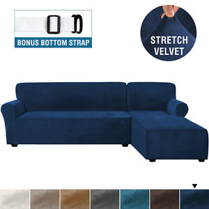 L Shaped Sofa Slipcover Rich Velvet Stretch Right Chaise Sofa Cover