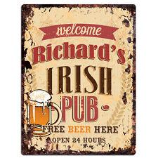 PMBP0007 RICHARD'S IRISH PUB Rustic tin Sign PUB Bar Man cave Decor Gift Ideas