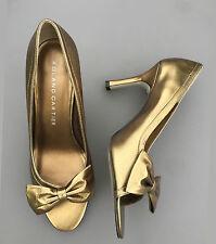 Roland Cartier High Heel Shoes 7 40 Gold Bronze Peeptoe Evening Prom Wedding Box