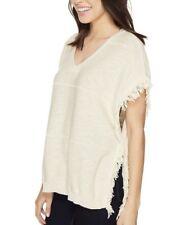 Michael Stars V-Neck Knit Fringe Poncho Tunic Ivory Boho Cotton Top Shirt SC699