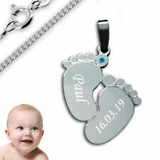 Anhänger Babyfüße mit Zirkonia-925er Sterling Silber- Inkl. Kette+Gravur