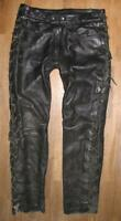 "Fat Men's Lace-Up Leather Jeans / Biker Trousers IN Black Approx. W34 "" / L33 """