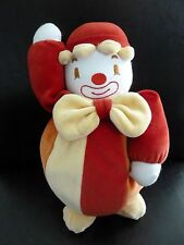 M7- DOUDOU PELUCHE CLOWN SUCRE D'ORGE rouge orange jaune blanc GM 28 cms  NEUF *