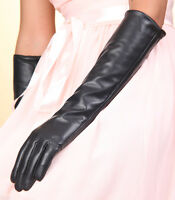 Long 40cm sexy Genuine Lambskin Leather Opera Gloves S M L
