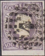 Portugal 1866 100r King Luis [Curved Label] sg 45 used