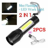 2x tragbare T6 COB LED USB wiederaufladbare zoombare Taschenlampe Lampe Licht De