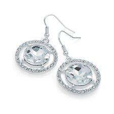Diamante Drop Earrings Round Drops Silver Colour Crystal Diamante
