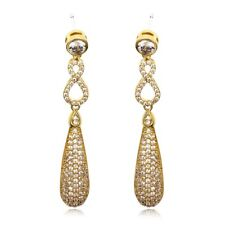 Gift Boxed Yellow Gold Plated Micro Pave CZ Crystal Drop Dangle Earrings UK