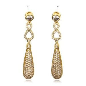 GIFT BOXED Yellow Gold Plated Micro Pave CZ Drop Dangle CRYSTAL EARRINGS UK