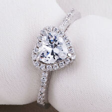 Cz 925 Sterling Silver Size 10 Newshe Wedding Engagement Ring For Women Heart