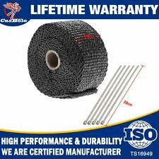 "2"" ROLL Black Fiberglass Exhaust Header Pipe Heat Wrap Tape+ Stainless Steel Tie"