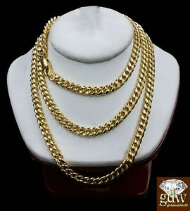 10k Yellow Gold 5mm Miami Cuban Chain Necklace 20 22 24 26 28 inch 10K Gold