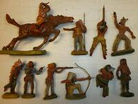 Konvolut 10 alte Hausser Elastolin Massefiguren Indianer Wildwest zu 7.5cm