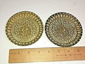 Vintage Retro Set of 2 Heavy Ornate Etched Brass Coasters - See Pics Make Offer!