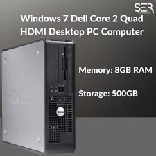 Windows 7 Dell Core 2 Quad HDMI Desktop PC Computer - 8GB RAM - 500GB HDD Wi-Fi