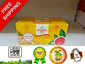 Steuarts Ceylon Ginger Black Tea 100% Natural Best Premium Quality 25 Tea Bags