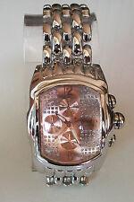 Designer Style Mens silver finish hip hop metal bracelet heavy fashionclub watch