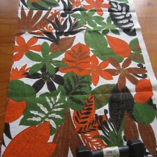 Jungle Print Barkcloth Vintage Cotton Fabric 64cm x 44cm Bold Orange Brown 1950s