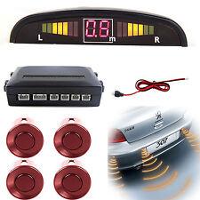 Car Rear Reverse Parking Sensor Car 4 Sensors Reversing Audio Buzzer Alarm Red