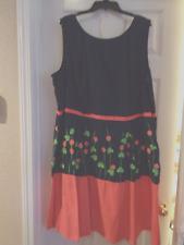 Women's Plus Size eShakti Dress, Size 5X 32W -- Raspberries and Shamrocks!