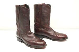 Dan Post 4181 Short Pull On Roper Boots 8.5 M Burgundy Leather Mid Calf Western