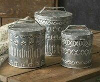 Primitive GRAY BOHO Canisters Set of 3 Rustic Chic Galvanized Metal Embossed