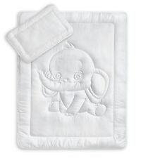 Oeko-Tex Kinder Bettdecken Set mit Elefantensteppung 40x60 + 100x135 cm 95°