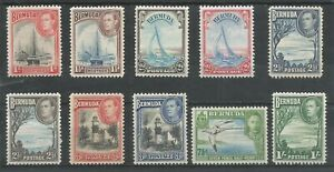 BERMUDA   1938   KGVI   MLH  Short set to 1s   SG110-115    Cat.£142