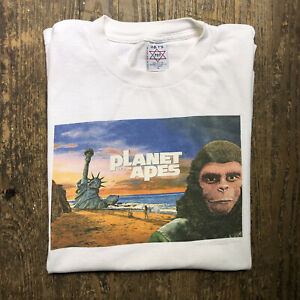 Vintage Rare 1998 Planet of the Apes Movie Promo Graphic Tee Shirt XL Distressed