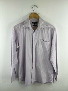 Boston Men's Button Shirt Size 39 Pink Striped Long Sleeve Tailored Fit Collared