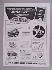 Auto Accessories Co. PRINT AD - 1951 ~~ Cad-Fins, Chrome Tail Pipes, Streamer