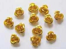 50 Aluminium Flower Beads/Rosebud Beads - 12mm - Gold