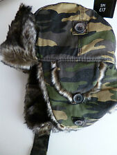 Next mens trapper hat green camouflage camo faux fur size Small - Medium  NEW