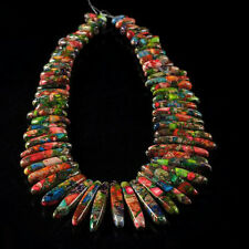 "g1679 Multi-color sea sediment jasper pyrite stick chips loose beads 15"""