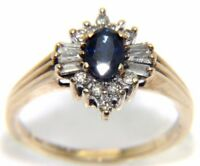 Ladies / Womens 9ct 9carat Yellow Gold Diamond and Sapphire Ring Size N 3.1g