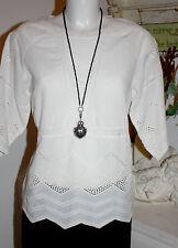 Noa Noa Bluse Top  Kurzarm Vintage Anglaise White  size: 38  Neu