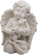 Angel with Dog Statue Pet Dog Memorial Statue Indoor Outdoor Home Garden Dog 7