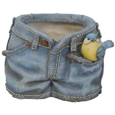 BRAND NEW BLUE TIT DENIM SHORTS PLANTER/PLANT POT GARDEN ORNAMENT