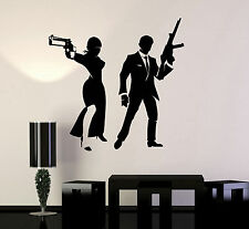 Vinyl Wall Decal Spy Couple Agents with Guns Stickers Mural (ig4104)