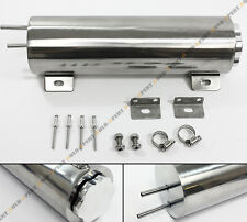 """3"""" x 10"""" Universal Polished Stainless 30 oz Radiator Over Flow Tank Can SBC BBC"""
