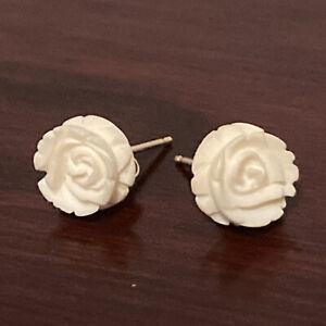 14k Gold Ivory Rose Earrings