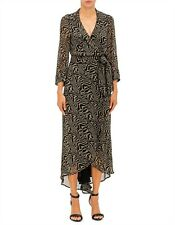 GANNI PRINTED GEORGETTE WRAP LONG DRESS - SIZE EUR 38 (AUS 10) - BNWT RRP $349.