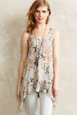 Anthropologie Maeve Magda Ruffle Longline Top Tunic Dress Grey Floral size L