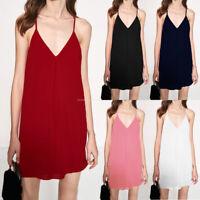 US STOCK Womens Summer Spaghetti Strap V-neck Club Party Vest Mini Slip Dress