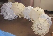 wedding sun bride parasol white ivory large medium small cotton lace select
