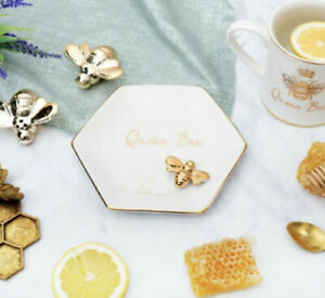 SASS AND BELLE PRETTY QUEEN BEE GOLD COLOUR TRINKET DISH JEWELLERY HOLDER TRAY