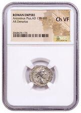 AD 138-161 Roman Empire Silver Denarius Antoninus Pius NGC Ch VF SKU56385