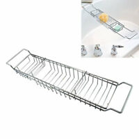 Adjustable Chrome Bathroom Bath Tub Rack Tray Holder Storage Caddy Organiser