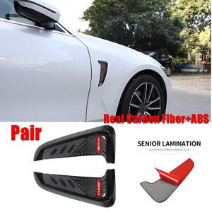 2pcs Real Carbon Fiber+ABS Car Side Wing Fender Vent Trim Air Flow Cover Sticker
